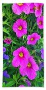 Pink And Purple Petunias Beach Towel