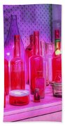 Pink And Red Bottles Beach Towel by Kaye Menner