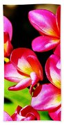 Pink And Red Plumeria Beach Towel