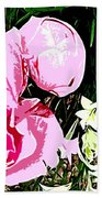 Pink And White Flowers Beach Towel