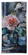 Pink And White Roses In Silver Mug Beach Towel