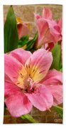 Pink And Yellow Flowers Beach Towel
