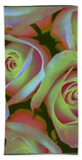 Pink And Yellow Roses Pop Art Beach Towel