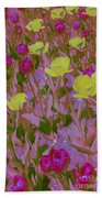 Pink And Yellow Tulips Pop Art Beach Towel