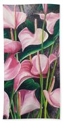 Pink Anthuriums Beach Towel