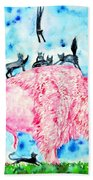 Pink Bison And Black Cats Beach Towel