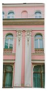 Pink Building Beach Towel