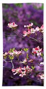 Pink Dogwood With Purple Azaleas Beach Towel