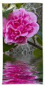 Pink Flower Reflection Beach Towel