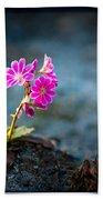 Pink Flower With Inkbrush Calligraphy Joyfulness Beach Towel