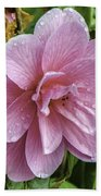 Pink Flower With Rain Drops Beach Towel