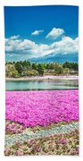 Pink Flowers Blue Sky Beach Towel
