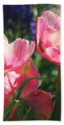 Pink Fluffy Tulips Beach Towel