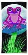 Pink Frog And Blue Moon Beach Towel
