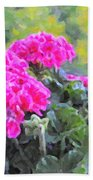 Pink Geraniums And Butterfly Beach Towel