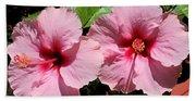 Pink Hibiscus Blooms Beach Towel