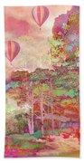 Pink Hot Air Balloons Abstract Nature Pastels - Dreamy Pastel Balloons Beach Towel
