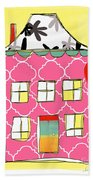 Pink House Beach Towel by Linda Woods