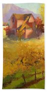 Pink House Yellow Field Beach Towel