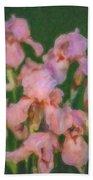 Pink Iris Family Beach Sheet