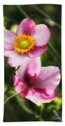 Pink Japanese Anemone Beach Towel