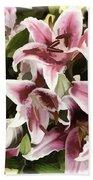 Pink Lilies I Beach Towel