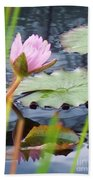 Pink Lily And Pads Beach Towel