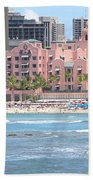 Pink Palace On Waikiki Beach Beach Towel