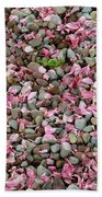 Pink Petals On Stones  Beach Towel