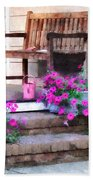 Pink Petunias And Watering Cans Beach Towel