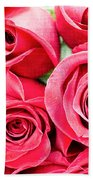 Pink Roses Flowers  Beach Towel