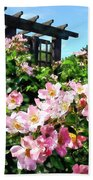Pink Roses Near Trellis Beach Towel