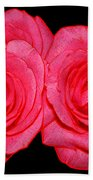 Pink Roses With Colored Edges Effects Beach Towel