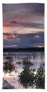 Pink Sunset At The Lake Beach Towel