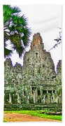 Pink Tower In The Bayon In Angkor Thom In Angkor Wat Archeological Park Near Siem Reap-cambodia Beach Towel
