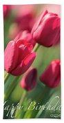 Pink Tulip Dream Birthday Card Beach Towel
