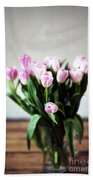 Pink Tulips In A Vase Beach Towel