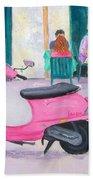 Pink Vespa Beach Towel