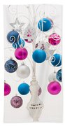 Pink White And Blue Christmas Beach Towel by Anne Gilbert