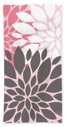 Pink White Grey Peony Flowers Beach Towel