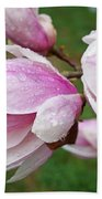 Pink White Wet Raindrops Magnolia Flowers Beach Towel