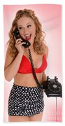 Pinup Girl On The Phone Beach Towel