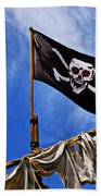 Pirate Flag On Ships Mast Beach Towel