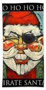 Pirate Santa Poster Beach Towel
