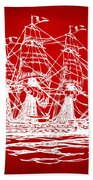 Pirate Ship Artwork - Red Beach Towel