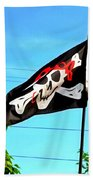 Pirate Ship Flag Of The Skull And Crossbones Beach Towel