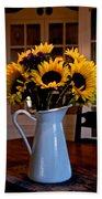 Pitcher Of Sunflowers Beach Towel
