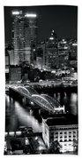 Pittsburgh Black And White  Beach Sheet