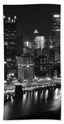 Pittsburgh Black And White Night Beach Sheet