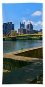 Pittsburgh Pennsylvania Skyline And Bridges As Seen From The North Shore Beach Towel